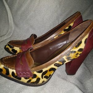 Leopard print pony hair w burgundy & brown leather